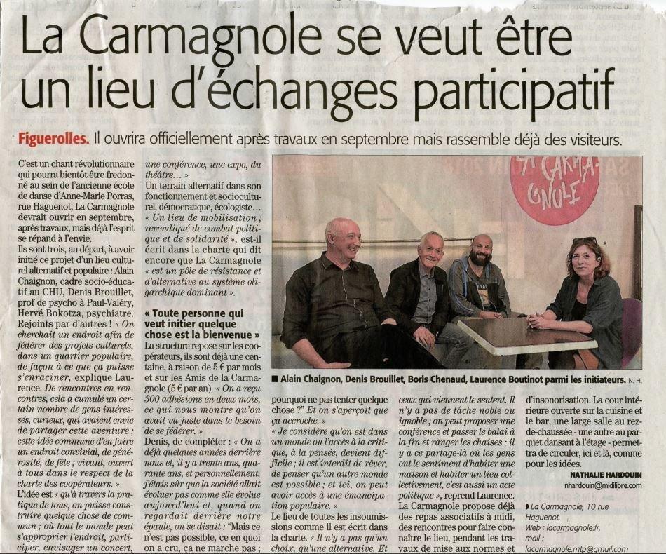 Article Midi Libre - La Carmagnole dans la Presse